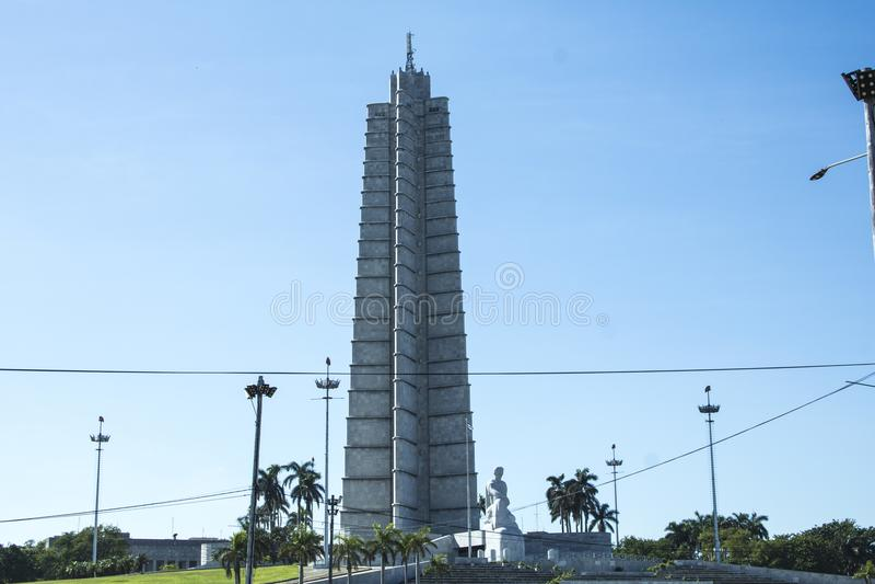 对José MartÃ的纪念碑是纪念碑给古巴思想家和诗人José MartÃ,全国和革命英雄 免版税库存照片