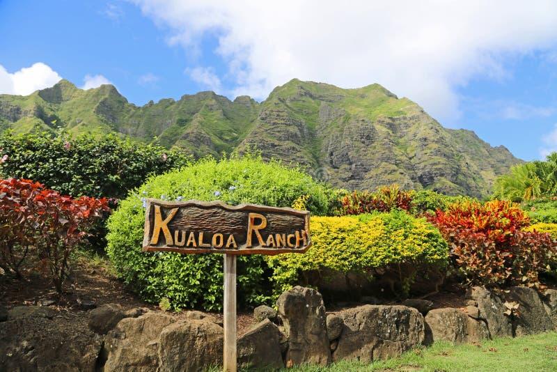 对Kualoa大农场的入口 库存照片