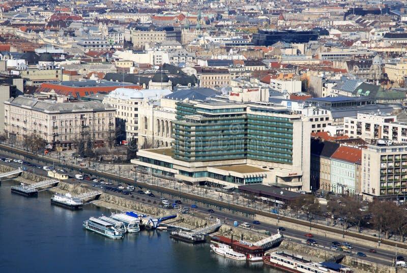 对Mariott旅馆的看法虫的,布达佩斯,匈牙利 2012年2月 免版税库存图片