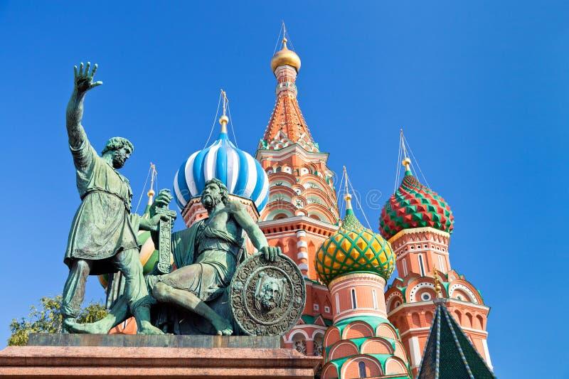 对Minin和Pozharsky的纪念碑在莫斯科 库存图片