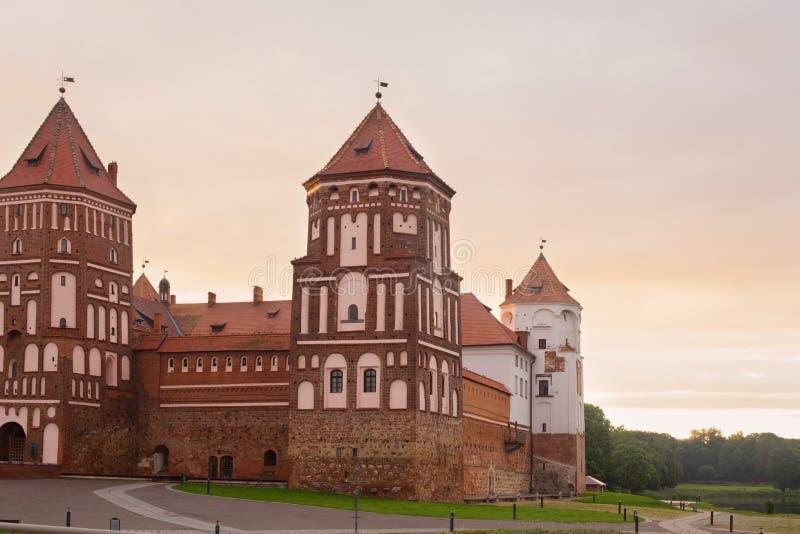 对Mir,格罗德诺州,白俄罗斯城堡的盛大看法  免版税图库摄影
