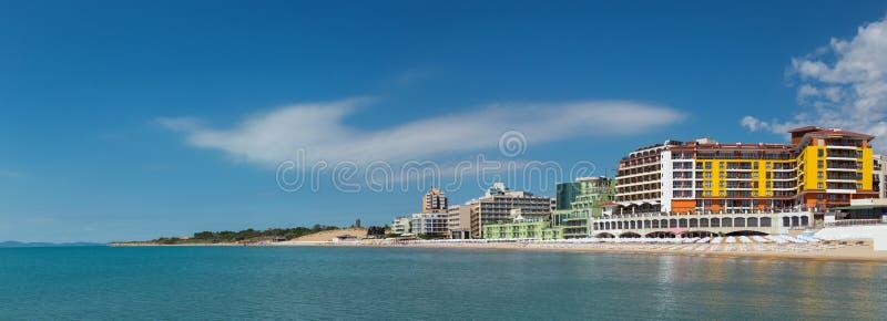 对Nessebar海滩的全景  库存照片