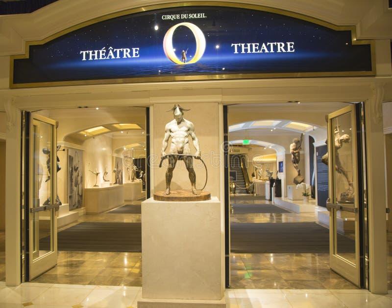 对O剧院的入口太阳马戏团在贝拉焦旅馆在拉斯维加斯 免版税库存照片