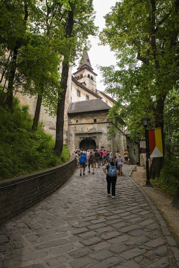对Orava城堡,斯洛伐克庭院的门 免版税库存照片