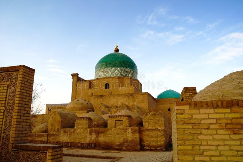对Pahlavon穆罕默德陵墓的外视图Itchan的Kala在Khiva,乌兹别克斯坦 免版税图库摄影