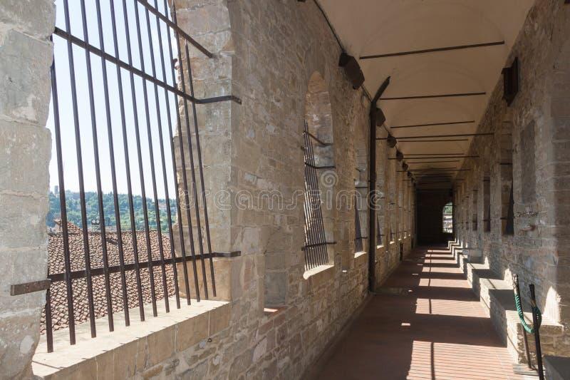对Palazzo Vecchio塔的长的走廊在佛罗伦萨,托斯卡纳,意大利 库存图片