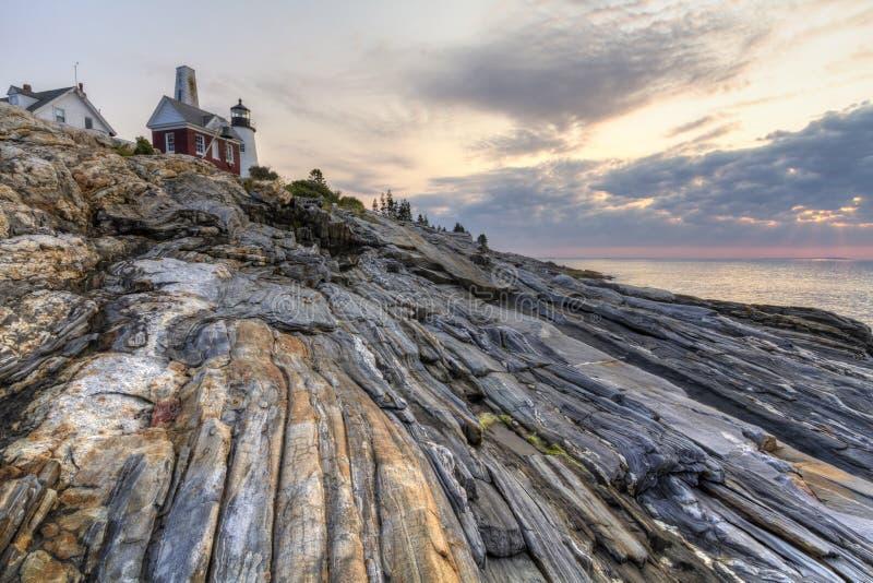 对Pemaquid的所有岩石点 库存照片