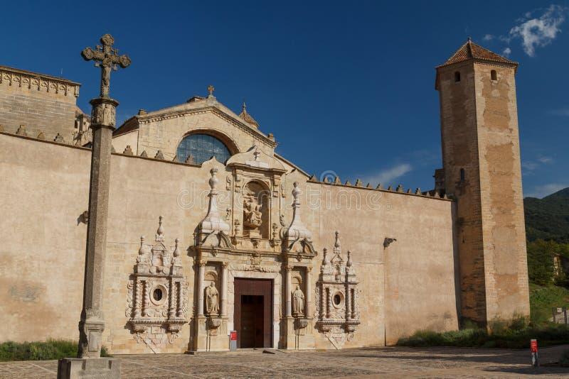 对Poblet修道院的入口 库存照片