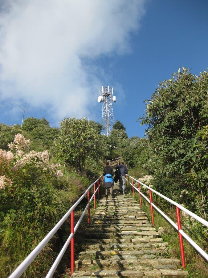 对Poon小山,尼泊尔的台阶 库存照片