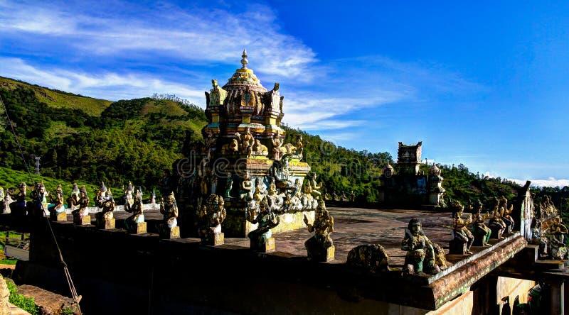 对Seetha阿曼欣德寺庙,努沃勒埃利耶,斯里兰卡的全景 库存照片