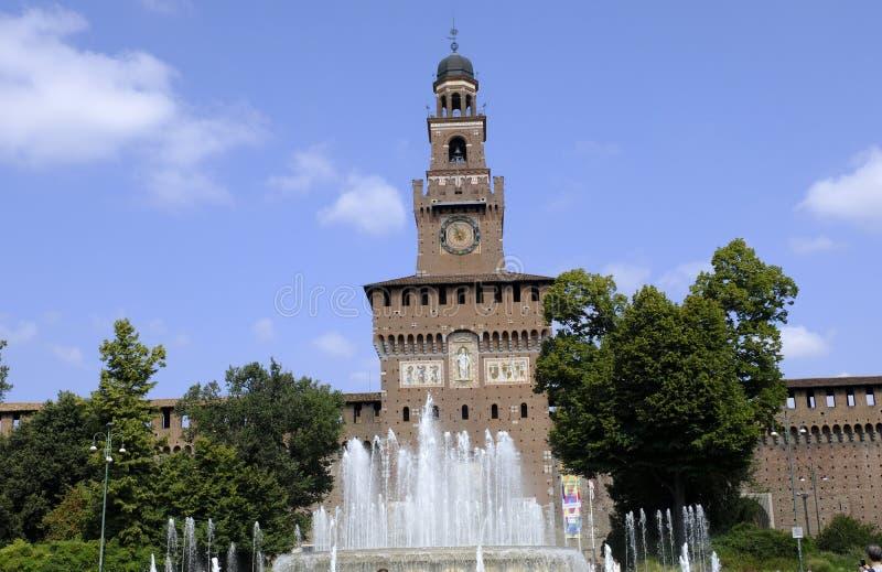 对Sforza城堡和喷泉在它前面,米兰,意大利的大门 免版税库存照片