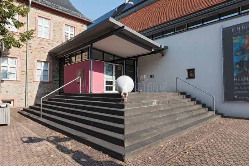 对Stadtmuseum的入口在Hofheim上午Taunus 免版税库存照片