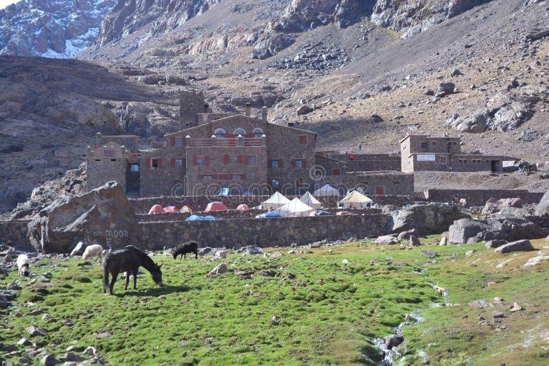 对toubkal的足迹从马拉喀什在摩洛哥 北非 免版税库存图片