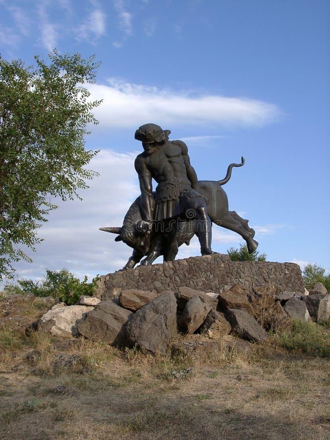 对Trdat的纪念碑伟大在Abovyan,亚美尼亚 库存照片