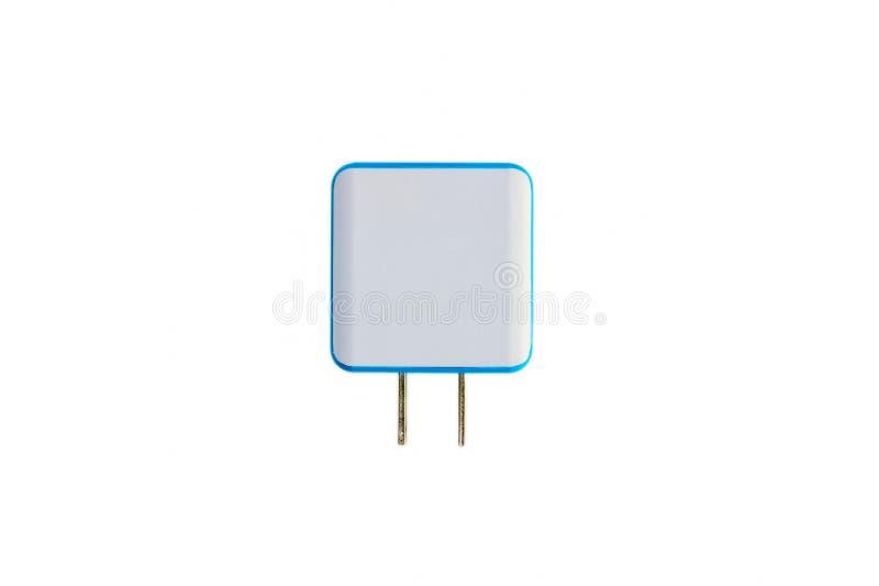 对USB充电器口岸的双重电子适配器 免版税库存照片