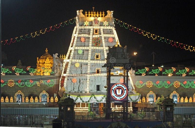 对Venkateswara阁下的寺庙Tirupati的,安得拉邦,印度 免版税库存照片