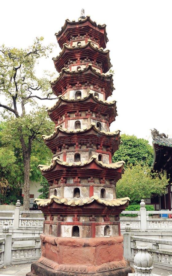 寺庙、东方古典佛教stupa、佛教塔与设计和样式的中国传统塔在古老样式 免版税库存图片