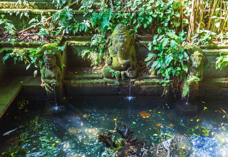 寺庙喷泉在猴子森林, Ubud,巴厘岛里 免版税库存图片