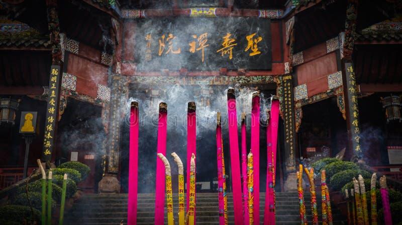 寺庙在中国西南部,佛教寺庙,香炉 免版税库存图片
