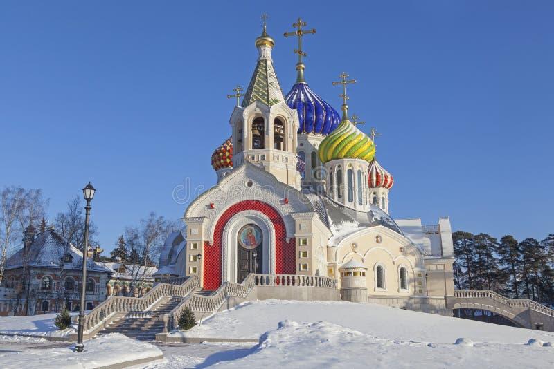 寺庙在Peredelkino在冬天 免版税库存图片