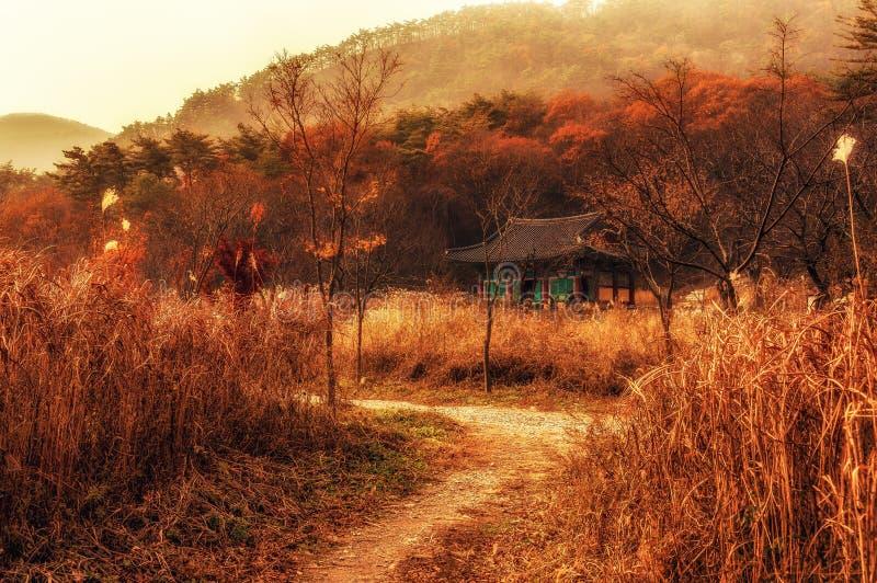 寺庙场面在秋天 库存照片