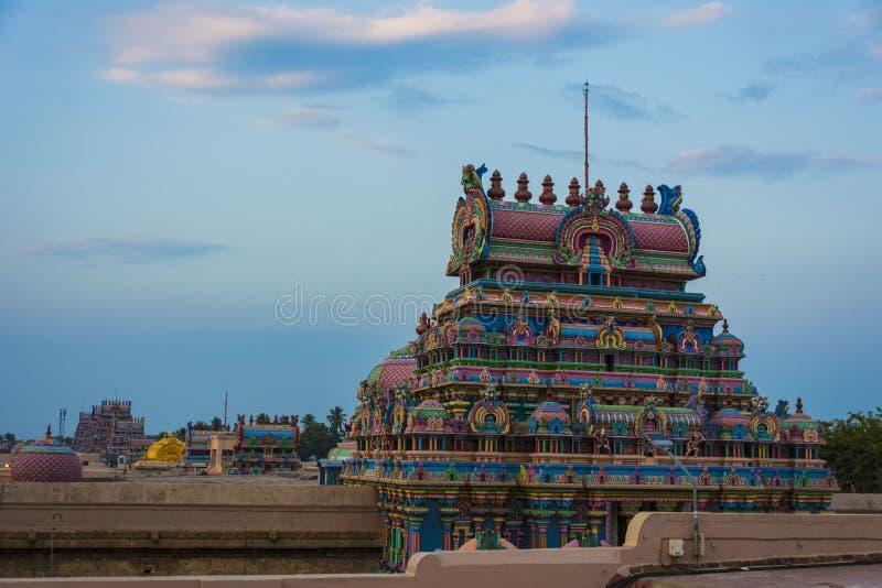 寺庙塔联盟视图- Srirangam秀丽  免版税库存图片