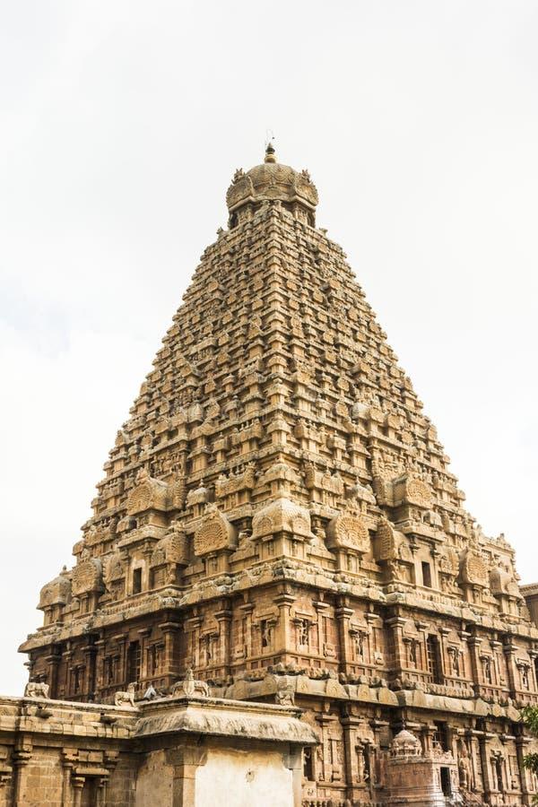 寺庙塔-坦贾武尔大寺庙侧视图  库存照片