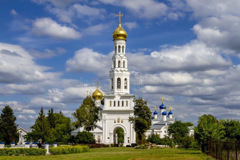 寺庙复合体在Zavidovo村庄,特维尔地区,俄罗斯 库存照片