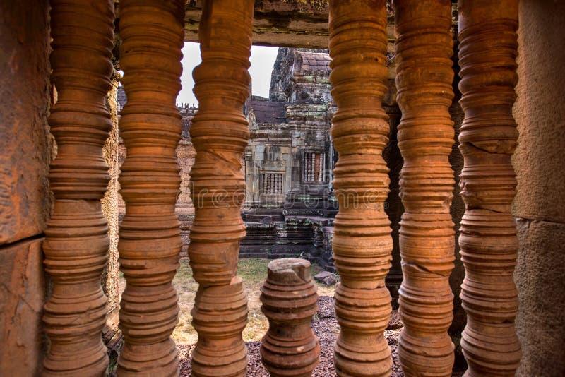 寺庙废墟在吴哥窟,缝收割,柬埔寨 库存照片