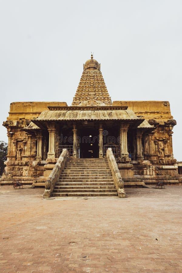 寺庙正面图-坦贾武尔大寺庙秀丽  库存照片