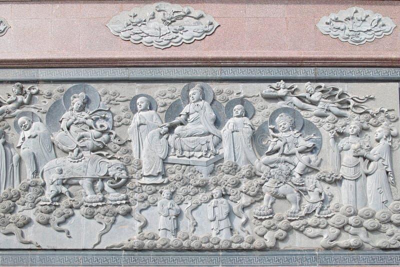 寺庙浮雕墙壁 库存照片