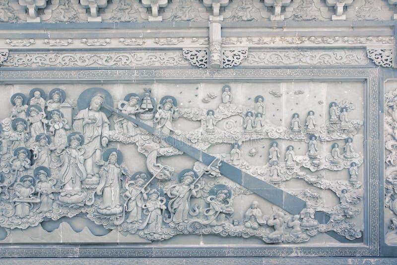 寺庙浮雕墙壁 免版税库存照片
