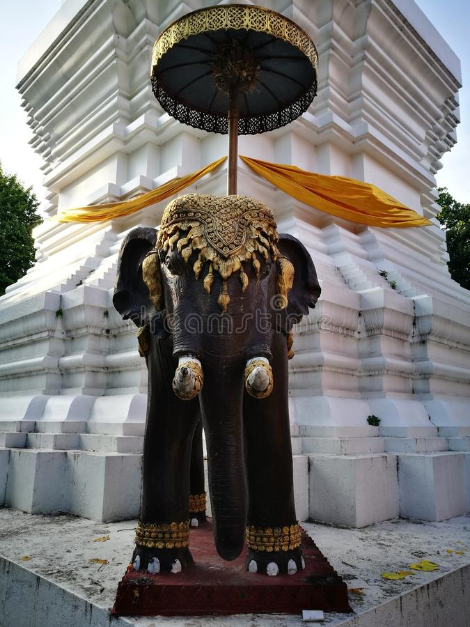 寺庙的大象监护人 库存图片