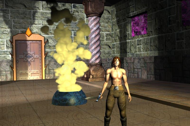寺庙的红色战士 库存图片