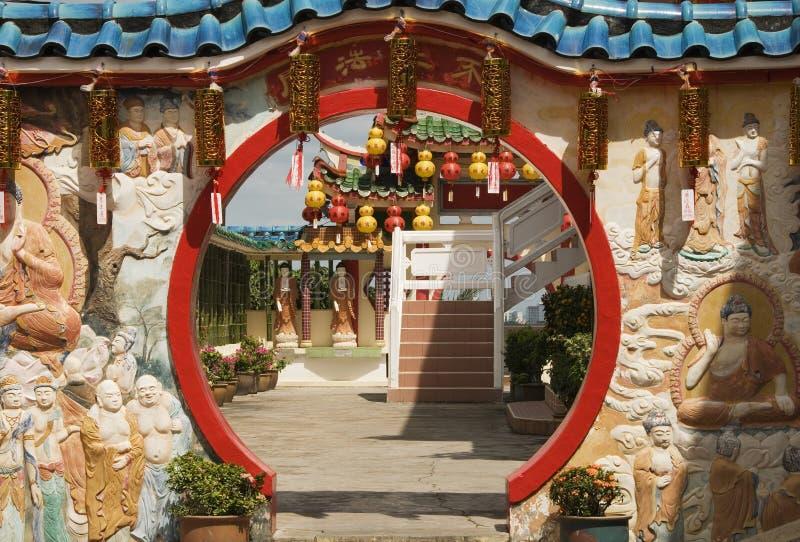 寺庙门道入口,槟榔岛,马来西亚 库存照片