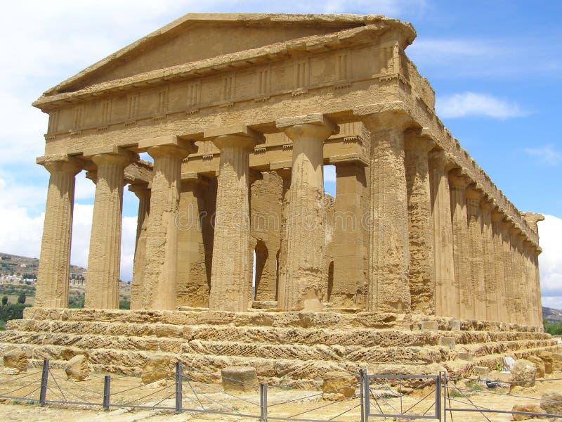 寺庙阿哥里根托西西里岛意大利Concordia谷寺庙  图库摄影