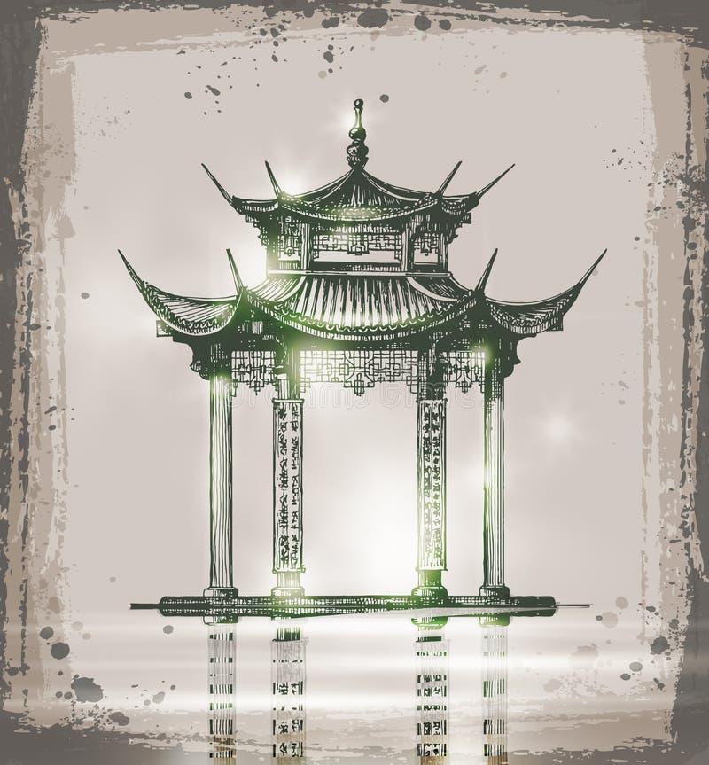 寺庙 手拉的剪影传染媒介例证 库存例证