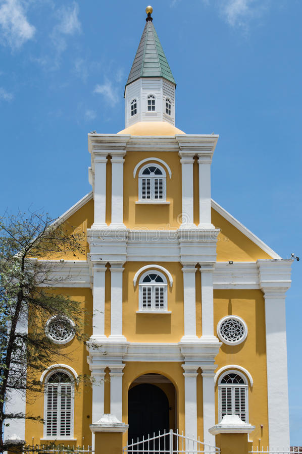寺庙以马内利,威廉斯塔德,库拉索岛 免版税库存图片