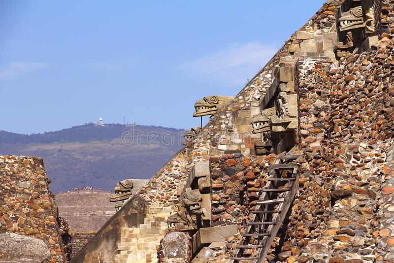 寺庙quetzalcoatl VIII, teotihuacan 库存图片