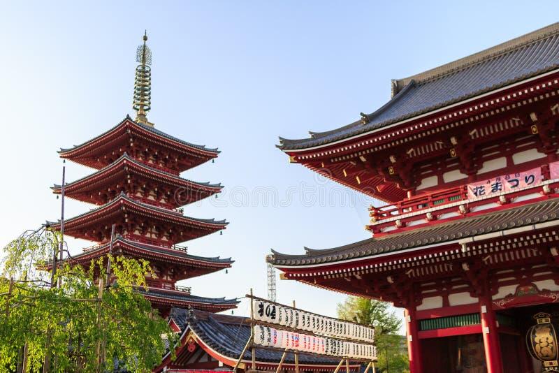 寺庙Senso籍在东京 库存图片