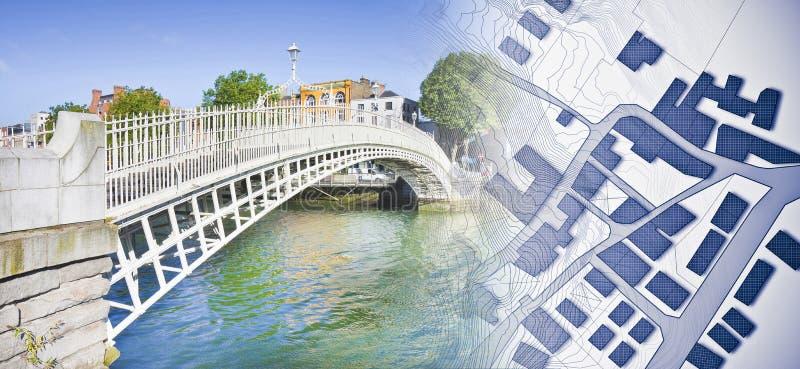 寻找一个房子在都伯林-爱尔兰-与最著名的桥梁的概念图象,叫Half便士桥梁和虚构 库存图片