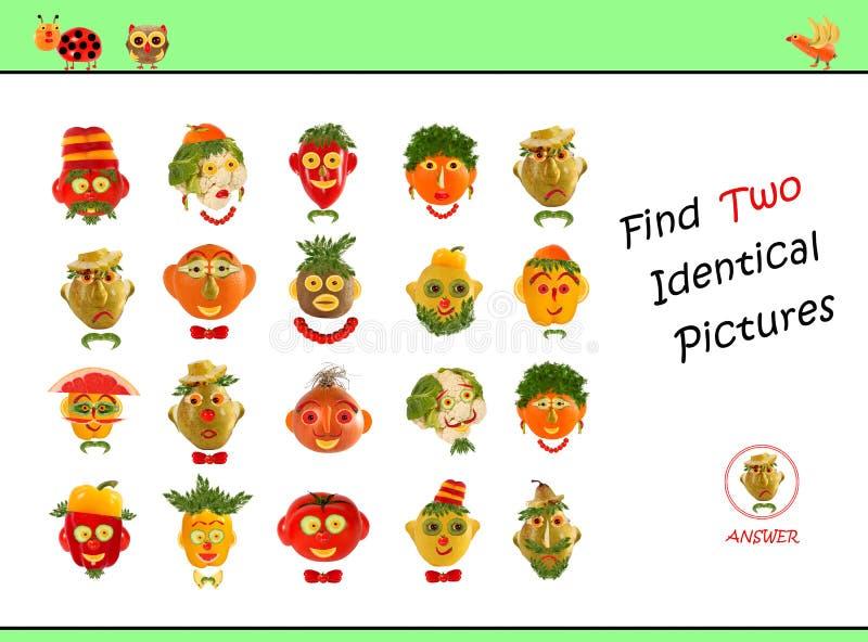 寻找同一幅画的动画插图 学龄前儿童的教育游戏 库存照片