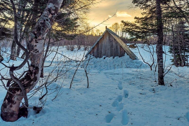 寻找在山的小屋 房子用雪盖了在屋顶下 踪影由雪清扫  免版税库存图片