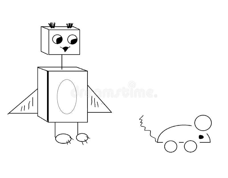寻找机器人猫头鹰 免版税库存照片