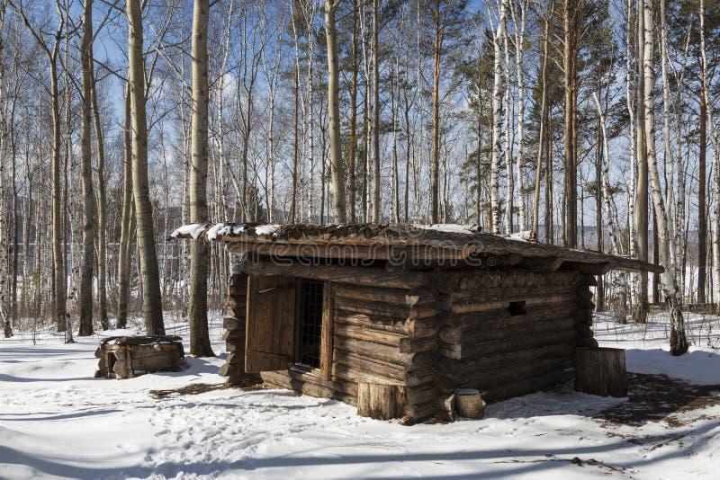 寻找阵营,19世纪 伊尔库次克建筑和民族志学博物馆'Taltsy' 库存照片