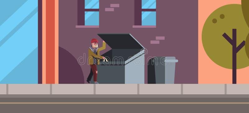 寻找食物和衣裳在的贫困者垃圾箱室外无家可归者失业的概念城市街道大厦外部 库存例证