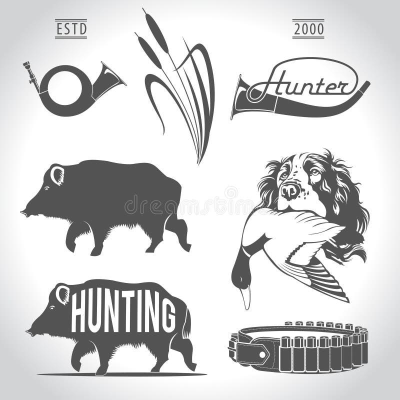 寻找,设计元素 公猪,野鸭,子弹带,寻找 皇族释放例证