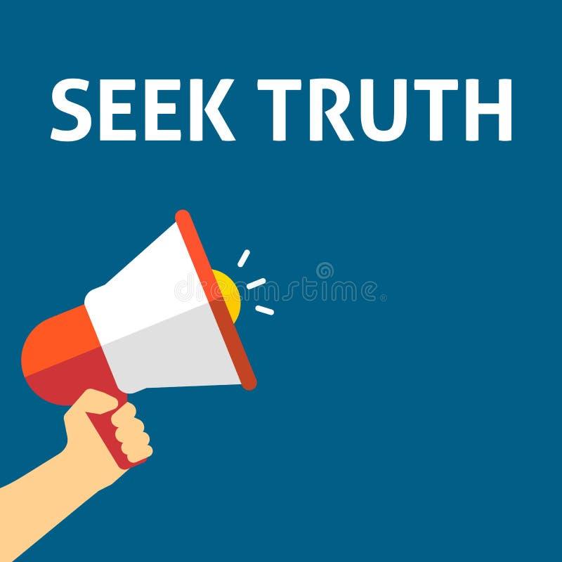 寻求真相公告 拿着有讲话泡影的手扩音机 库存例证