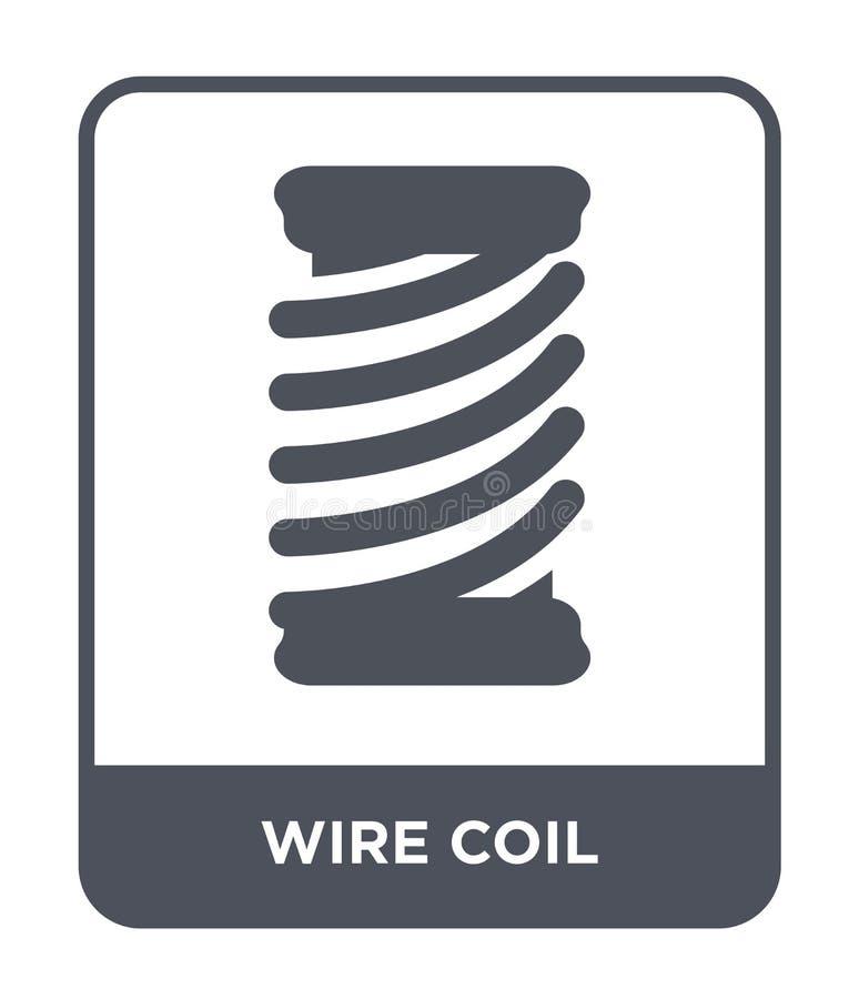 导线在时髦设计样式的卷象 导线在白色背景隔绝的卷象 导线卷传染媒介象简单和现代舱内甲板 库存例证