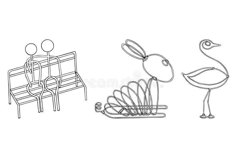 导线在爱野兔驼鸟的产品夫妇导航例证eps10 库存例证